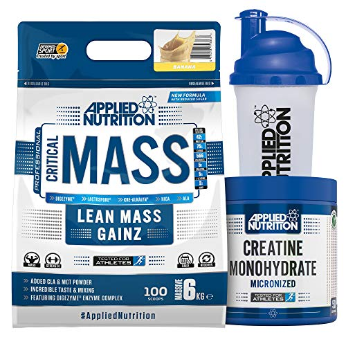 Applied Nutrition Bundle Critical Mass Professional Protein Powder 6kg + Creatine Monohydrate 250g + 700ml Shaker   High Mass Gainer, Serious Weight Gain with BCAA (Banana)