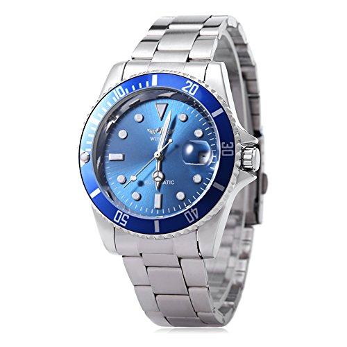 Leopard Shop WINNER W042602 orologio da polso da uomo, meccanico, automatico, display luminoso con data, cover posteriore trasparente #5