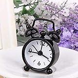 XLZZLDZ Reloj Despertador Reloj Despertador clásico Vintage Reloj de Mesa de Escritorio electrónico Reloj Despertador mecánico de Viaje, Negro