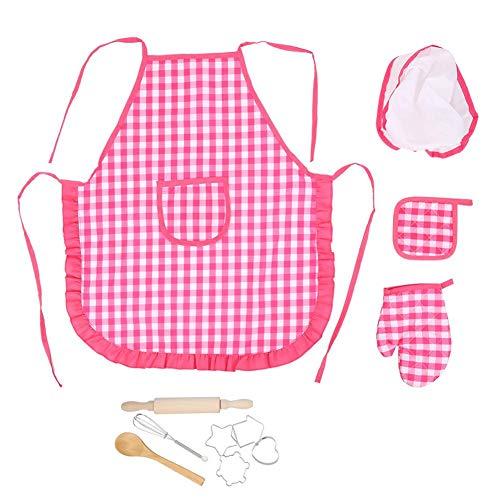 Cosiki Kinderkoch-Set, 11-teiliges Kuchenform-Set für Kinderbackformen, Kinder-Koch- und Backset mit Schürze, Kuchen-Backset für Kinder ab 3 Jahren(Rosa)