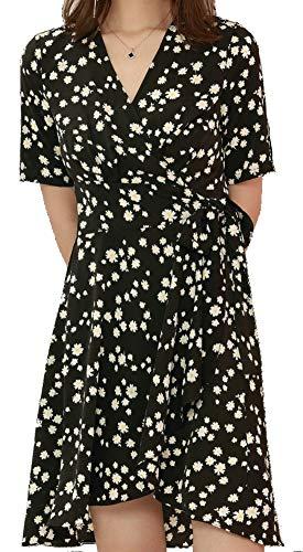 wrap dresses Womens Black Floral Wrap Dress Flowy V Neck Tie Waist High Low Casual Summer Dresses