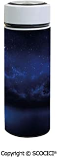 SCOCICI Vacuum Insulated Stainless Steel Water Bottle Flask Starry Cartoon Design Sky with Lunar Moon and Stars Clouds Sea Scenery Decorative