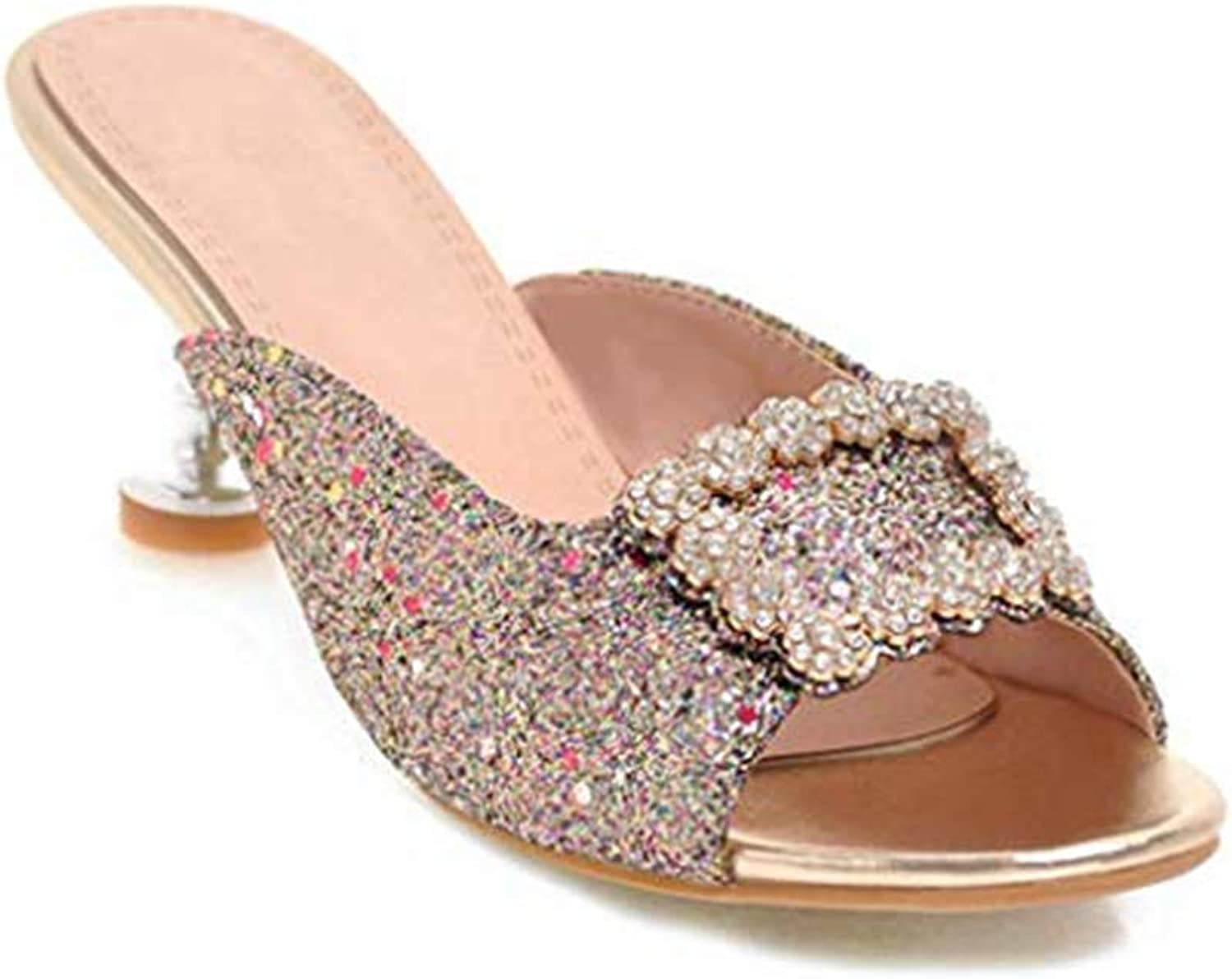 Women's Rhinestone Flowers Sparkle Glitter Heels Slides Sandals Bling Slip On Dress Mules Clogs Pumps shoes Sexy Girl Leg Length Fashion Leg Length Girl Reasing golden 7 M US Sandals shoes