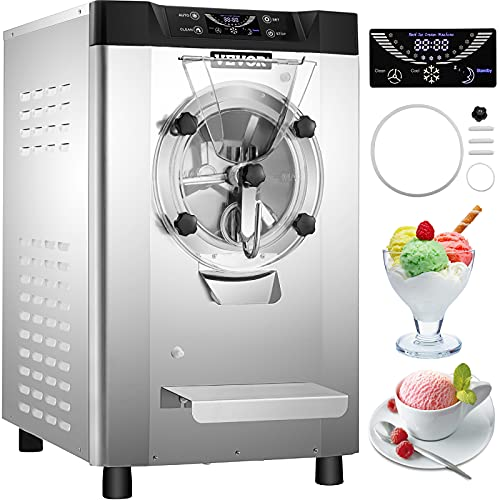 VEVOR Commercial Hard Ice Cream Machine Hard Serve Ice Cream Maker w/ 4.8-6.3 Gal/H Production Hard Ice Cream Machine w/ 1.6 Gal Cylinder Countertop Hard Yogurt Maker w/ 2000W Compressor & LCD Screen