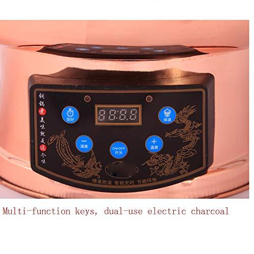 51fLsNvYhGL - Lamyanran Fondue-Fritteusen Multi-Funktions-Old Beijing Chinese Große Kupfer Traditionelle Holzkohle Hot Pot, Dual-Use-Elektro Charcoal Hot Pot mit Fernbedienung (Size : 32cm)