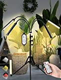 ISABOMB Grow Light Tripod Stand Adjustable 11-63 in,Four-Head Full Spectrum Floor Plant Light,LED Grow Light with Red Blue Yellow Spectrum for Indoor Plants,Dual Controllers and Auto ON/Off
