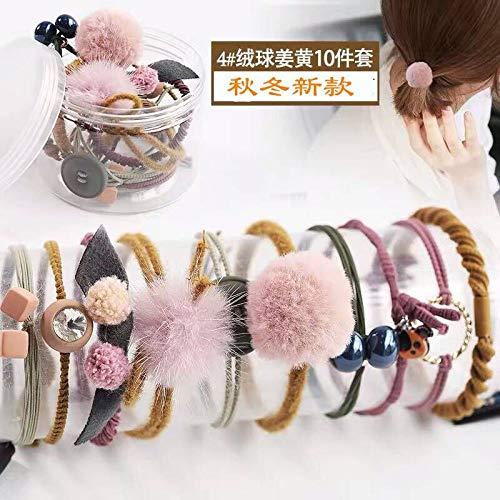 THTHT haarring eenvoudige meisjes elastische haarband 10 geel herfst winter ballen hoofddeksel vrouwelijk haar met paardenstaart elastiek haarbundel