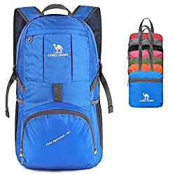 CAMEL CROWN 35L Foldable Backpacks Foldable Travel Hiking Backpack Ultralight Packable Day Backpack Waterproof Sports Backpack for Hiking Running Cycling and Hunting Green