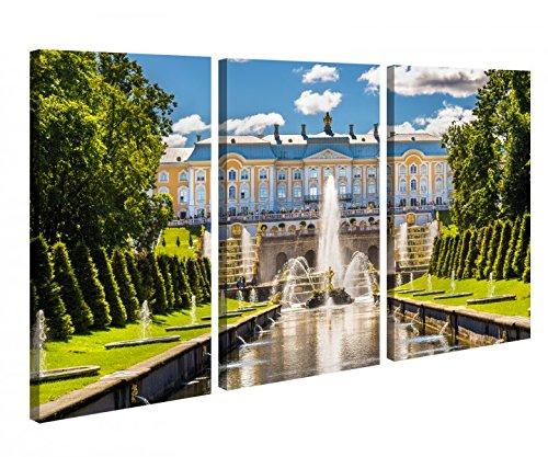 Preisvergleich Produktbild Leinwandbild 3 Tlg Sankt Petersburg Russland Schloss Palace Leinwand Bild Bilder canvas Holz fertig gerahmt 9U225,  3 tlg BxH:120x80cm (3Stk 40x 80cm)