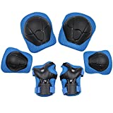 Sports Protective Gear Safety Pad Safeguard (Knee Elbow Wrist) Support Pad Set Equipment for Kids Roller...