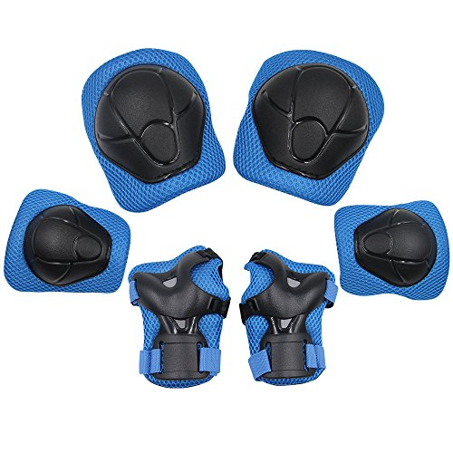 Price comparison product image Sports Protective Gear Safety Pad Safeguard (Knee Elbow Wrist) Support Pad Set Equipment for Kids Roller Bicycle BMX Bike Skateboard Protector Guards Pads, (Blue)