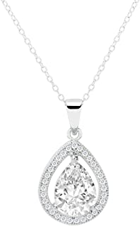 ROBERT MATTHEW Lenora 18K White Gold Plated Pear Shaped Halo Pendant Necklace, Silver Diamond Simulated cz Necklaces for Women with Solitaire Teardrop Cubic Zirconia Crystals, 7mm, 1ct, 18 inch Chain