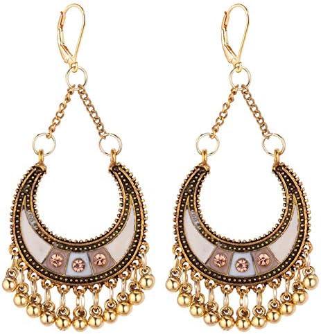 Boho Crescent Moon Dangle Drop Leverback Earrings for Girls Women Beads Chandelier Hoop Retro Ethnic
