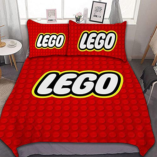 Funda Nordica Cama 90, Compañía Lego Estampada 3D, Hipoalergénico Ropa de Cama 135x200 cm, 1 Funda Edredón + 2 Fundas de Almohada 50x75 cm ( Cierre de Cremallera )