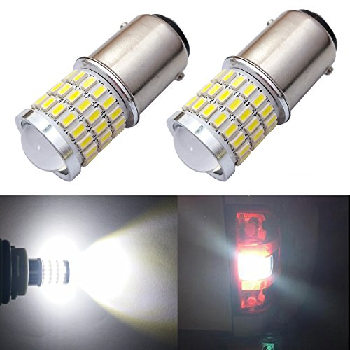 Price comparison product image iBrightstar Newest 9-30V Super Bright Low Power 1142 1076 1176 BA15D LED Bulbs with Projector replacement for Back Up Reverse Lights, Brake Lights, Tail Lights, Rv lights, Xenon White
