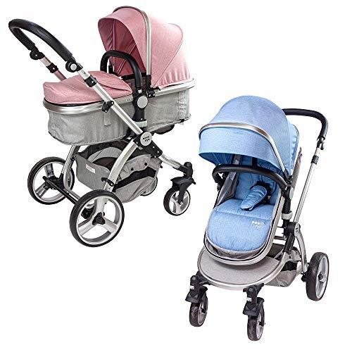 ib style® SUPREME 2 in 1 Kinderwagen | Buggy | Zusammenklappbar | Sitzrichtung verstellbar | 0-15kg | Rosa