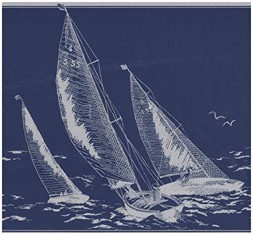 Prepasted Wallpaper Border - Sail boats in Sea