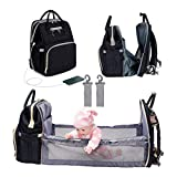 3 in 1 Diaper Bag Backpack Foldable Baby Bed Multi-functional Waterproof Mummy Bag with USB Charge, Large Capacity Baby Changing Bag Black