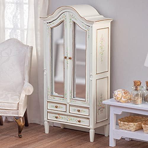 Spasm price Kansas City Mall factorydirectcraft White Floral Wardrobe Doll Miniatur - House