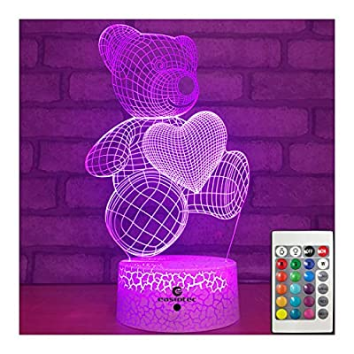Night Lights for Kids Teddy Bear 7 Colors Change with Remote 3D Night Light Help Kids Fell Safe at Night or Gifts for Women or Girls by Easuntec (Teddy Bear Heart) from Shenzhen Easun Technology Co.Ltd