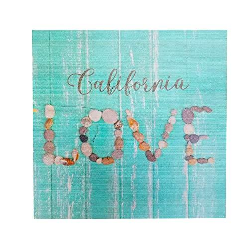 "XYZ Boat Supplies California Love - Wood Block Sign – 5.25"" x 5.25"" x 1"" - USA Made"