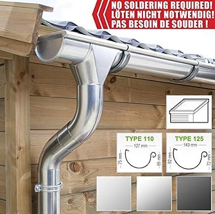 Regenwasserverteiler Titanzink rechts in den Gr/ö/ßen 80 und 100 mm gro/ß
