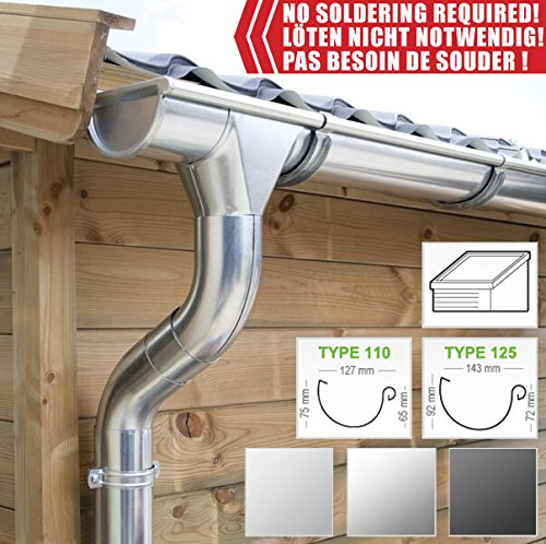 Zink Dachrinnen/Regenrinnen Set | Pultdach (1 Dachseite) | in Titanzink/Verzinkt/Anthrazit! Ideal für Veranda, Überdachung oder Vordach. (Komplettes Set bis 5.10 m [Type 110], Verzinkt)