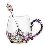 Utensili da Cucina Set di Tazze da tè con Fiori di Rosa in Cristallo di CristalloTazza da caffè per Latte Riutilizzabile