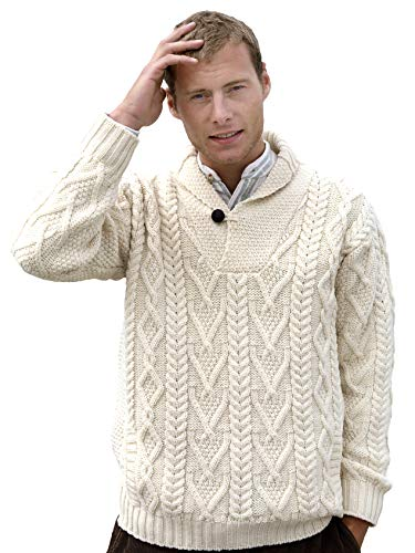 Aran Crafts Men's Irish Cable Knitted Wool Shawl Collar Sweater (SH4177-MED-NAT)