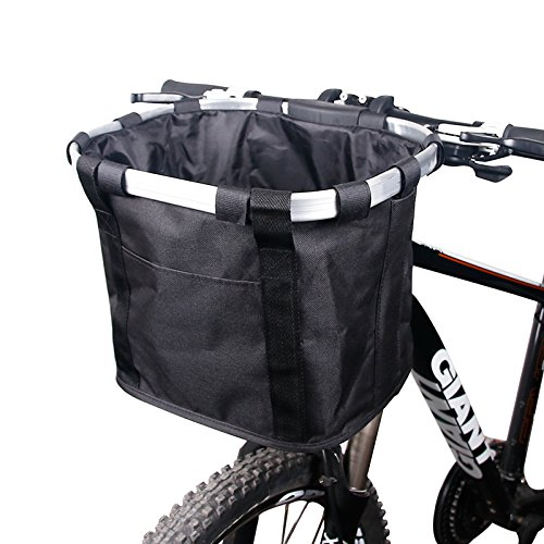Bike Basket Detachable Bicycle Basket, Folding Small Pet Cat Dog Carrier Front Handlebar Basket for Most Mountain Bikes and Bicycles, Easy Install Quick Released Picnic Shopping Bag