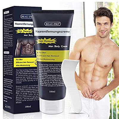 Men Hair Removal Cream, Extra Gentle Aloe Moisturizing Premium Painless Body Depilatory Cream for Arm, Chest, Back, Leg, Armpit by GuangzhouMissyBioTechCO.,LTD