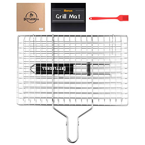 Goognice Cattlegrill Foldable BBQ Fish Grill Basket with 430 Stainless Steel, Outdoor use for Fish, Steak, Kebabs, Vegetables and Burger- Grill Set Includes: a Reusable Grill mat and a basting Brush.