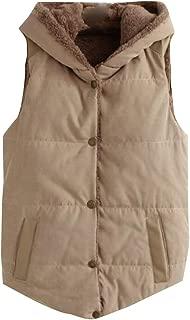 Womens Flannel Lined Vest Boho Flowers Leaves Print Hooded Sleeveless Jacket Coat