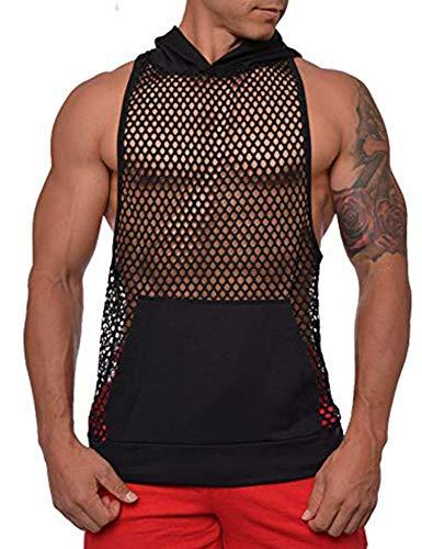 COOFANDY Mens Workout Tank Fishnet Muscle See Through T Shirt Sexy Mesh Transparent Tees Top (Medium, Black2)