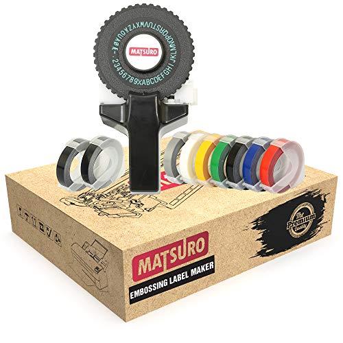 Matsuro Original | Mini 3D Impresora de etiquetas M-101 con 9 cintas | Práctica Organizadora Manual DIY con 43 símbolos | Sistema intuitivo de etiquetado turn and click | Impresión y corte