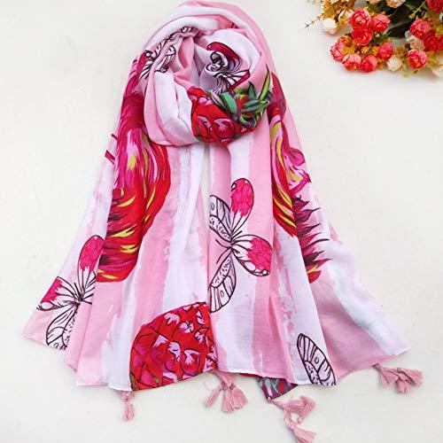 MYTJG Lady sjaal mode dier patroon met heldere kleur zachte katoenen sjaal vrouwelijke sjaal
