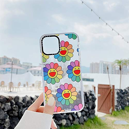 HNZZ Tmrtcgy Marca de Lujo Smiley Sun Flower Soft Silicon Funda para teléfono para Apple iPhone 12 Mini 7 8 x XS MAX 11 Pro Plus Tapa Trasera Capa (Color : A, Size : Iphone11 Pro)