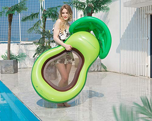 CYLYFFSFC Inflatable Avocado Floating Bed PVC Inflatable Swimming Ring Adult Inflatable Floating Bed With Sunshade Over Water Lounge Chair