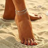 Edary Beach Lainred Rhinestone Tobillera Pulsera de tobillo con cuentas de plata Joyería de pie simple para mujeres y niñas