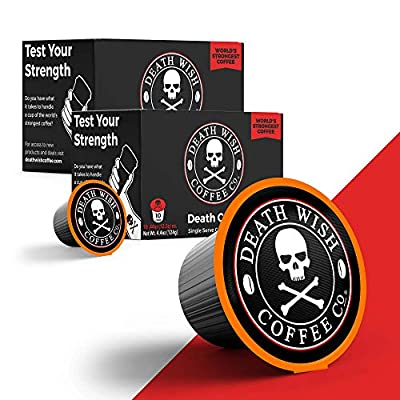DEATH WISH Death Cups [20 Count] Single Serve Coffee Pods, World's Strongest Coffee, Dark Roast Capsules, For Capsule Cup Brewers, USDA Certified Organic, Fair Trade, Arabica and Robusta Beans