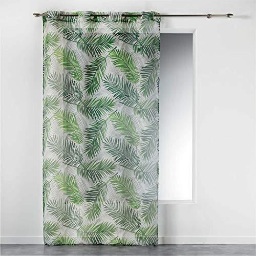 Douceur d'Intérieur Tenda con Occhielli, 140 x 240 cm, in Voile Stampato, Colore: Verde Paradiso
