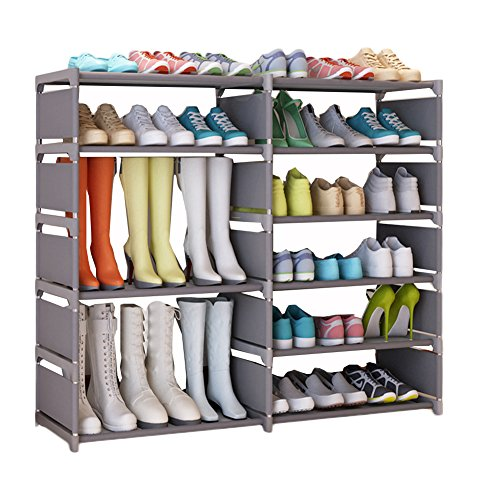 UDEAR Schuhschrank Schuhregal Storage Shoe Rack Tragbar Schuhe Regal Organizer Grau Stiefel Stil
