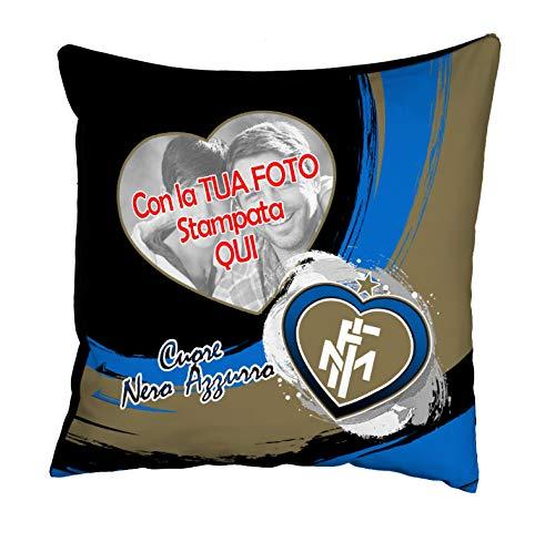 quickgadget Idea Arredo Casa Cuscino Sport Personalizzato con Foto per Tifoso Cuore Nero Azzurro...