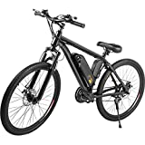 Bestauto 21-Speed Electric Mountain Bicycle Black Electric Bicycle Stable 250W Electric Bike for Men 36v 10.4Ah E-Bike 31 Miles Longest Range for Easy Transportation