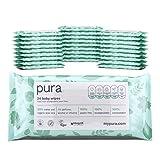 MyPura.com Toallitas para bebé 100% orgánicas libres de plástico (28 paquetes de viaje, 672 toallitas) 100% compostables y biodegradables, hipoalergénicas y dermatológicamente probadas