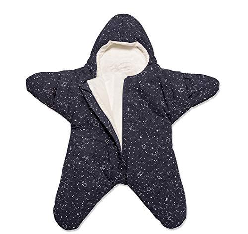 EsTong Baby Sleepsack Wearable Blanket Starfish Swaddling Bunting Sleeping Bag Nest Nightgowns Newborn Starry Blue (Fleece Lined)