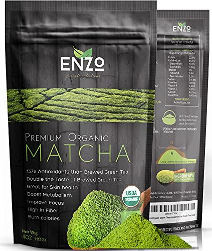 Organic Matcha Green Tea Powder - Premium Culinary Grade Maccha & USDA Certified by Ceres, a Zen Buddhist Grade Teas . Great for Drinking as hot tea, latte , baking (113)