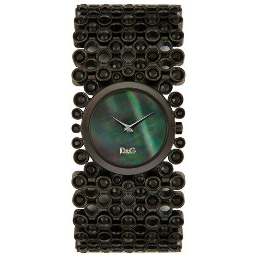 D&G Dolce & Gabbana Damen DW0245 Risky Schwarz Strass Uhr aus Edelstahl