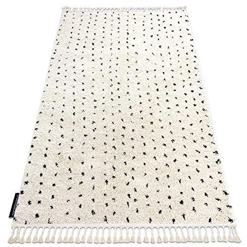 RugsX Tapis de Couloir, berbère marocain Shaggy, Franges, Berber, pour la Cuisine, Le Hall, Le Couloir, SYLA B752 crème 60x200 cm