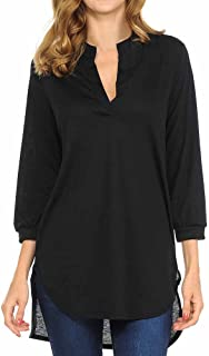 ✿HebeTop✿ Womens V Neck Tunic Blouse 3/4 Sleeve Henley Tops Loose Fitting Bat Wing Shirts
